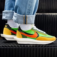 NIKE Sacai x Nike LVD Waffle Daybreak New fashion hook couple hit color sports leisure shoes