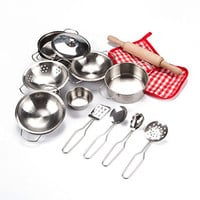 Toyerbee Pretend Play Toys - Little Chef Stainless Cookware Set 15 Piece Toy Pots and Pans with Cooking Utensils Kitchen Playset for Toddlers