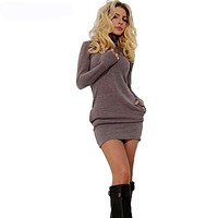 Bodecin Women Long Sleeve Thumb Out Dress With Pockets Winter Clothes Dress Fall Women's Clothing Sexy Office Dress