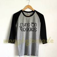 Runs On Veggies Shirt Vegan Shirt Veggie Yoga Baseball Raglan 3/4 Tee Shirts Tshirt Unisex Size