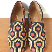 Stubbs and Wootton black chevron needlepoint slipper flats in excellent condition - Size 9 1/2