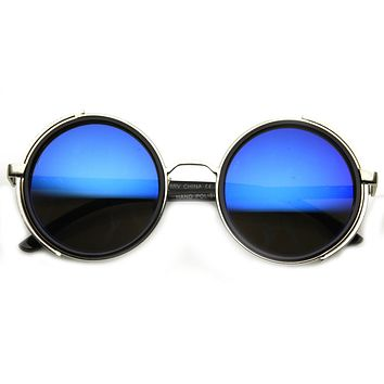 Vintage Steampunk Studio Cover Mirrored Lens Sunglasses 9583