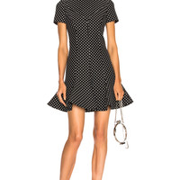 Valentino Flared Hem Polka Dot Mini Dress in Black & Ivory | FWRD