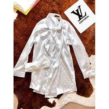 LV Louis Vuitton Autumn Newest Women Comfortable Long Sleeve Silk Shirt Top