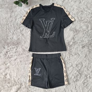 LV Louis Vuitton Women With short sleeves Top Pants shorts Two-Piece