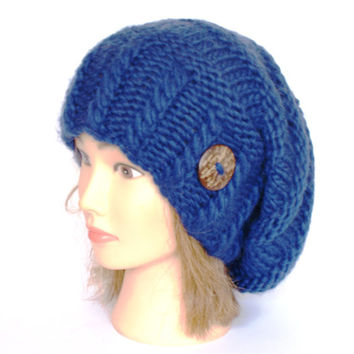 Slouchy beanie hat navy blue slouch hats beanies dark accessory for women chunky knitted hat irish handknit hats wool with button