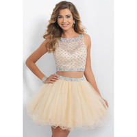2016 Two Pieces Homecoming Dresses  Short Prom Dresses Champagne Beaded Sweet 16 Dresses Sheer Beach Wedding Party Dresses