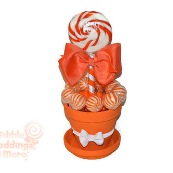 Medium Orange Lollipop Centerpiece, Orange, Lollipop, Wedding, Bridal Shower, Candy, Centerpiece, Candy Buffet, Sweet Sixteen, Quinceanera