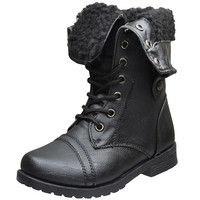 Kids Mid Calf Boots Fold Over Cuff Fur Lined Lace Up Combat Boots Black SZ