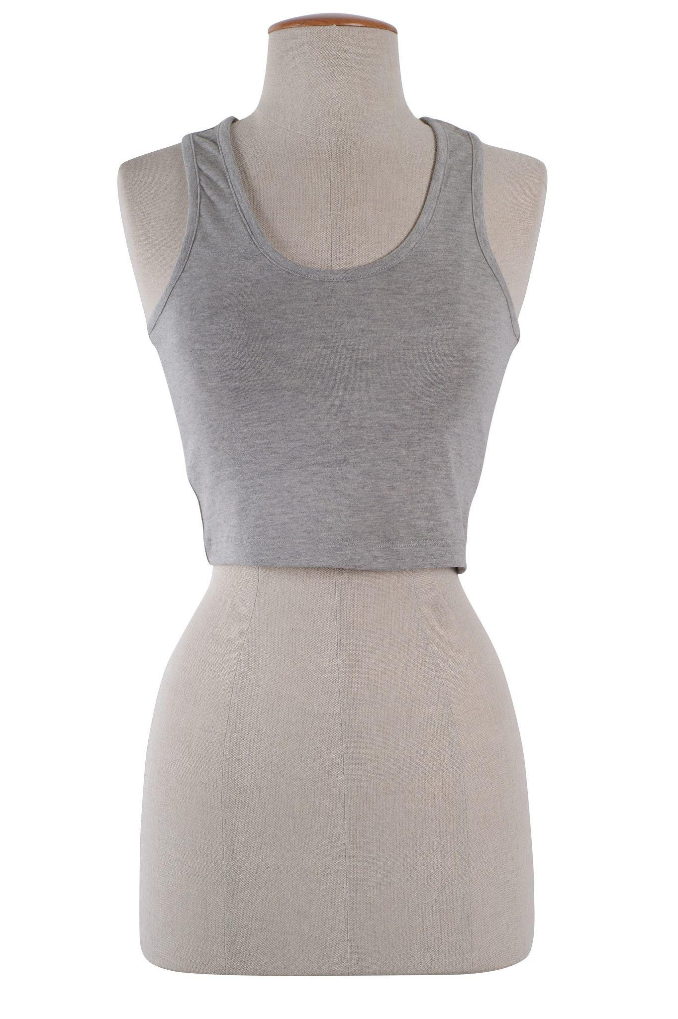 Image of Sexy Sleeveless Sports Cropped Cami Tank Top Scoop Neck Racerback Yoga Shirt