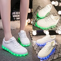 New Fashion Hot Selling Emitting Luminous Casual star Shoe Men Women Couple LED Sneakers USB Charging Lights shoes