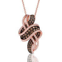 "Le Vian® Chocolate & Vanilla Diamond® ""Chocolate Wave"" Pendant in 14K Strawberry Gold®"