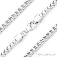 Italy .925 Sterling Silver 3.6mm Arrow Link Franco Chain Men's Italian Necklace