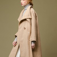 High Neck Wool Coat | Camel