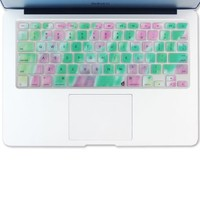 """Masino® Silicone Keyboard Cover Ultra Thin Keyboard Skin for MacBook Air 13"""" MacBook Pro with Retina Display 13""""15"""" 17"""" (Cotton Candy Green Mix Light Purple)"""