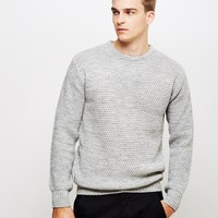 The Idle Man Chambray Knit Jumper Grey