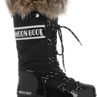 Moon Boot - Faux fur-trimmed piqué-shell and faux patent-leather snow boots