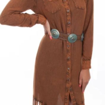 Honey Creek by Scully Rust Long Fringe Button Up Dress