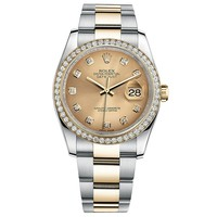 Rolex Datejust 36 Steel Yellow Gold Watch Diamond Bezel Champagne Dial 116243