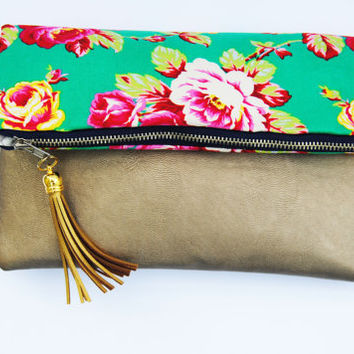 LEATHER FOLDOVER CLUTCH, gold and green clutch, everyday casual clutch, jade floral clutch, romantic clutch, bridesmaid gifts