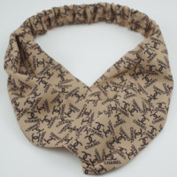 LV Louis Vuitton 2018 new women's tide brand fashion print cross headband F0447-1 Light coffee