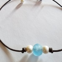 """The New """"OB"""" Sea Glass and Freshwater Pearl on Leather Choker"""
