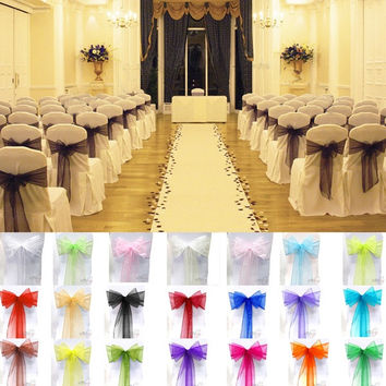 15x275cm Sheer Organza Chair Cover Sash Bow Wedding Party Banquet Decor Sashes Bow Cover  Decoration Gauze = 1932805764
