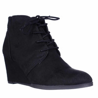 AR35 Baylie Lace Up Wedge Booties - Black