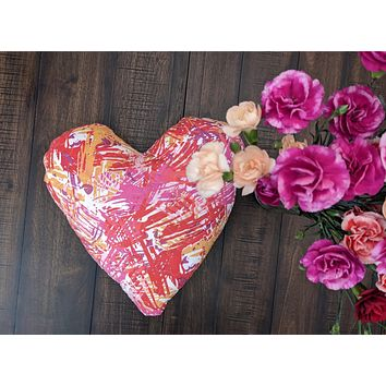 """DaDa Bedding Hand-Made Sewn Marble Painted Heart Shaped Reversible Colorful Throw Pillow - 16"""" x 14"""""""