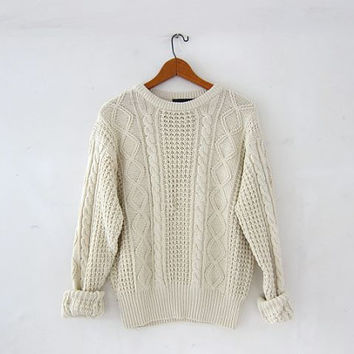 vintage cotton & linen sweater. natural white sweatshirt. textured cream pullover. cable knit sweater.