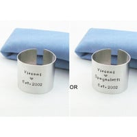 Wedding gifts - Personalized wedding gifts - Customized napkin rings for wedding couple - Name and date napkin rings