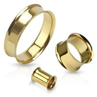 "Gold Ionic Plated Steel 316l Tunnel Plugs (2mm-51mm) (12g-2"")"