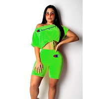 Champion tide brand female models sexy strapless letter printing set two-piece green