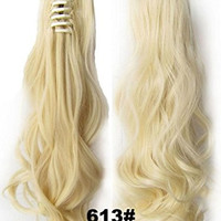 Beauty Wig World 20inch 50cm 100g Long Wave Curly Ponytail Hairpiece Extension Claw Clip on in Hair Piece - #613 bleach blonde