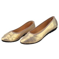 Plane Women Pointed Casual Flat Low-cut Shoes   golden