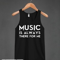 Music Is Always There-Unisex Black Tank