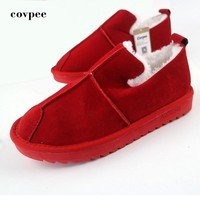 Hot Sale Shoes Women Boots Solid Slip-On Soft Cute Women Snow Boots Round Toe Flat with Winter Fur Ankle Boots