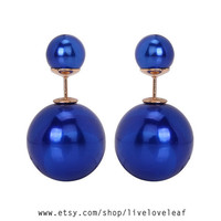 Double sided Blue pearl earrings, Metallic blue Tribal style Faux double facing Pearl stud earring trendy celebrity style statement jewelry