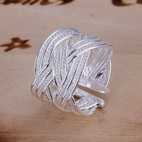 Sterling Silver Weaving Ring Fine Fashion Jewelry Engagement Love Couples Wedding Gift