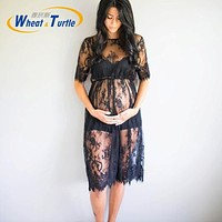 Lace Maternity Dresses for Photo Shoot Beautiful Black Pregnant Clothes Pregnant Women Photography Dress Pregnancy Clothes Beach