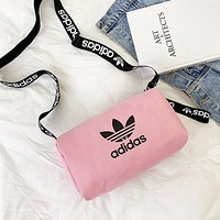 Adidas Fashion New Letter Leaf Print Women Men Leisure Canvas Shoulder Bag Pink