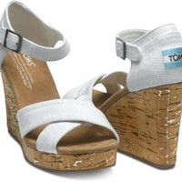 Ivory Linen Women's Strappy Wedges | TOMS.com