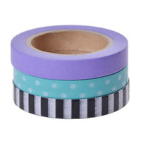 3 Pcs 10M DIY Paper Sticky Adhesive Sticker Decorative Scrapbooking Washi Tape