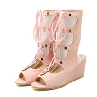 Pink Lace-Up Open Toe Gladiator Sandals