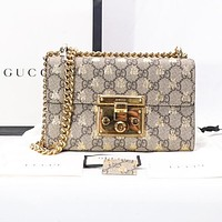 GUCCI Popular Women Leather Metal Chain Classic Bee Print Shoulder Bag Crossbody Satchel