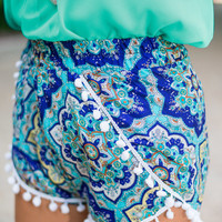 Crazy Cool Medallions Shorts, Blue