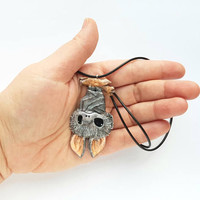Bat cute necklace pendant charm fashion polymer clay hand made gift funny humor for kids her birthday