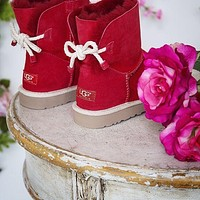 UGG new fashion hemp rope bow mid-tube snow boots Shoes