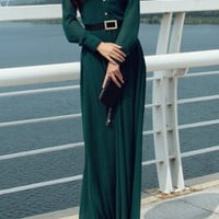Retro Style Green Long Sleeve Dress with Buttons