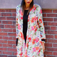 In Bloom Cardigan - Floral Print Cardigan with Open Front and Silver Spike Shoulder Detail